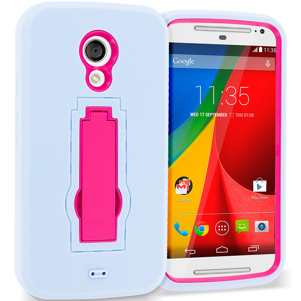 Motorola Moto G 2nd Gen 2014 Baby Blue / Hot Pink Hybrid Heavy Duty Hard Soft Case Cover with Kickstand