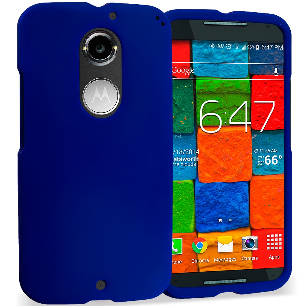 Motorola Moto X 2nd Gen Blue Hard Rubberized Case Cover