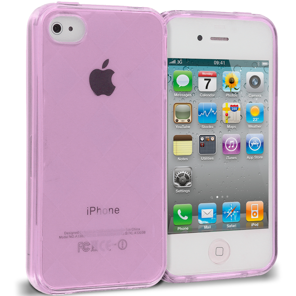 Apple iPhone 4 / 4S 2 in 1 Combo Bundle Pack - Purple Silver Diamond TPU Rubber Skin Case Cover : Color Purple Diamond