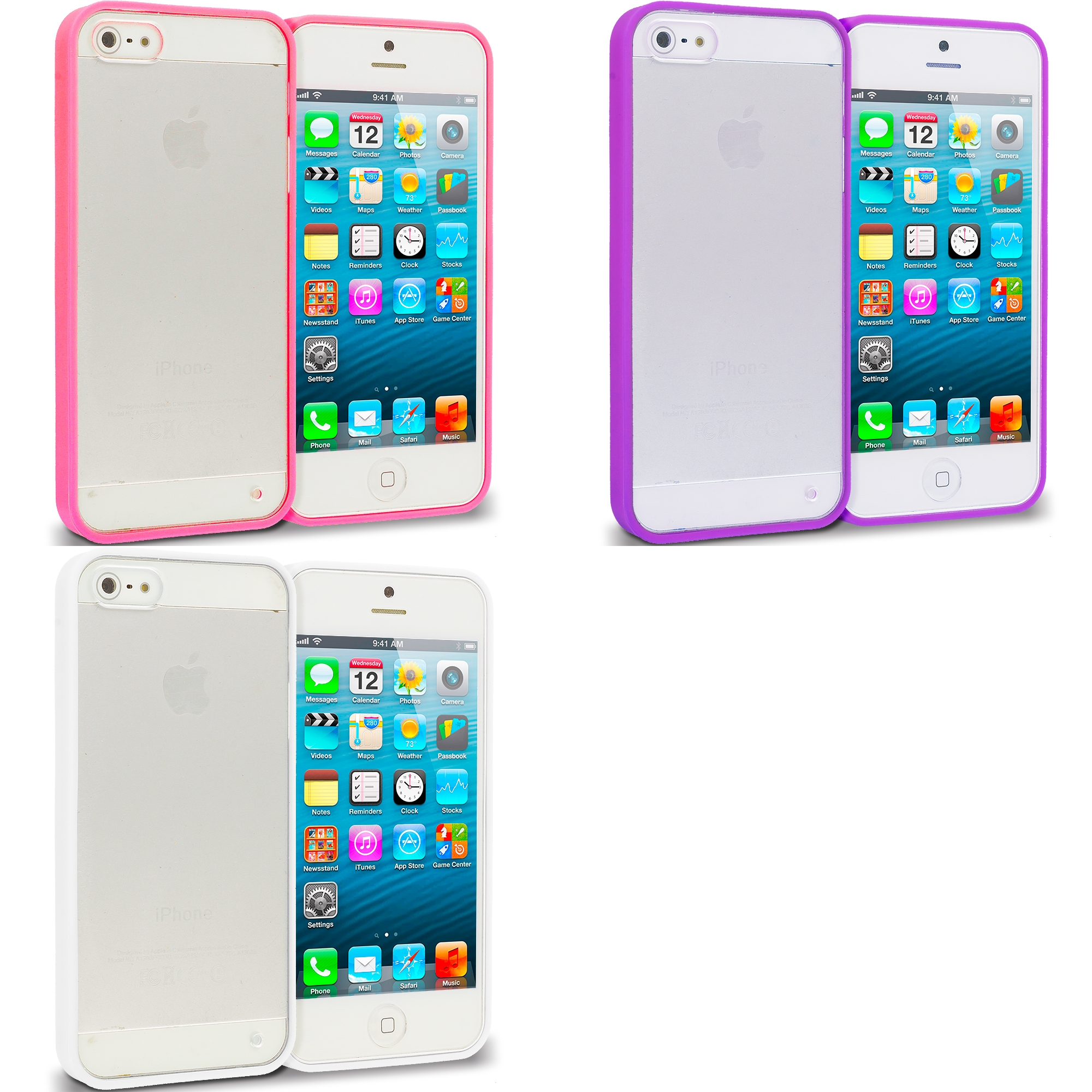 Apple iPhone 5/5S/SE Combo Pack : Hot Pink TPU Plastic Hybrid Case Cover