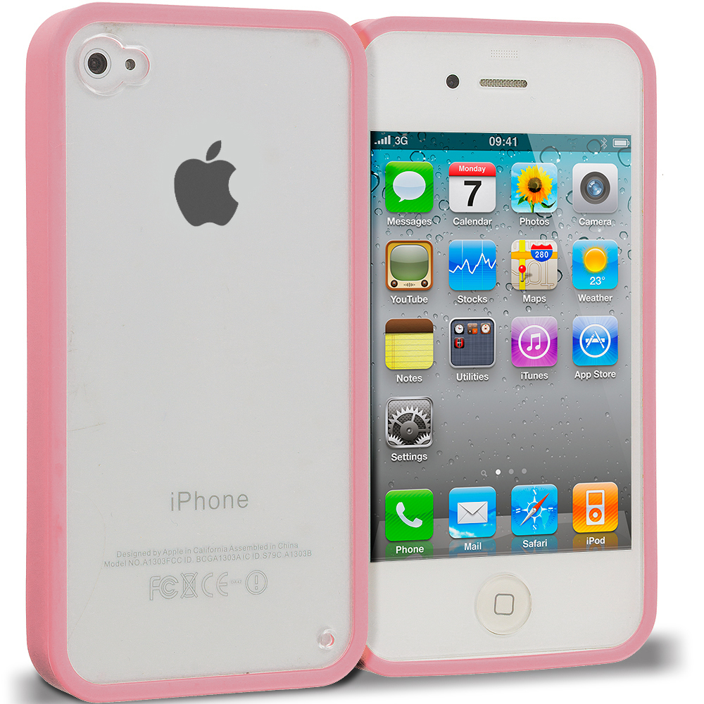 Apple iPhone 4 / 4S Pink TPU Plastic Hybrid Case Cover