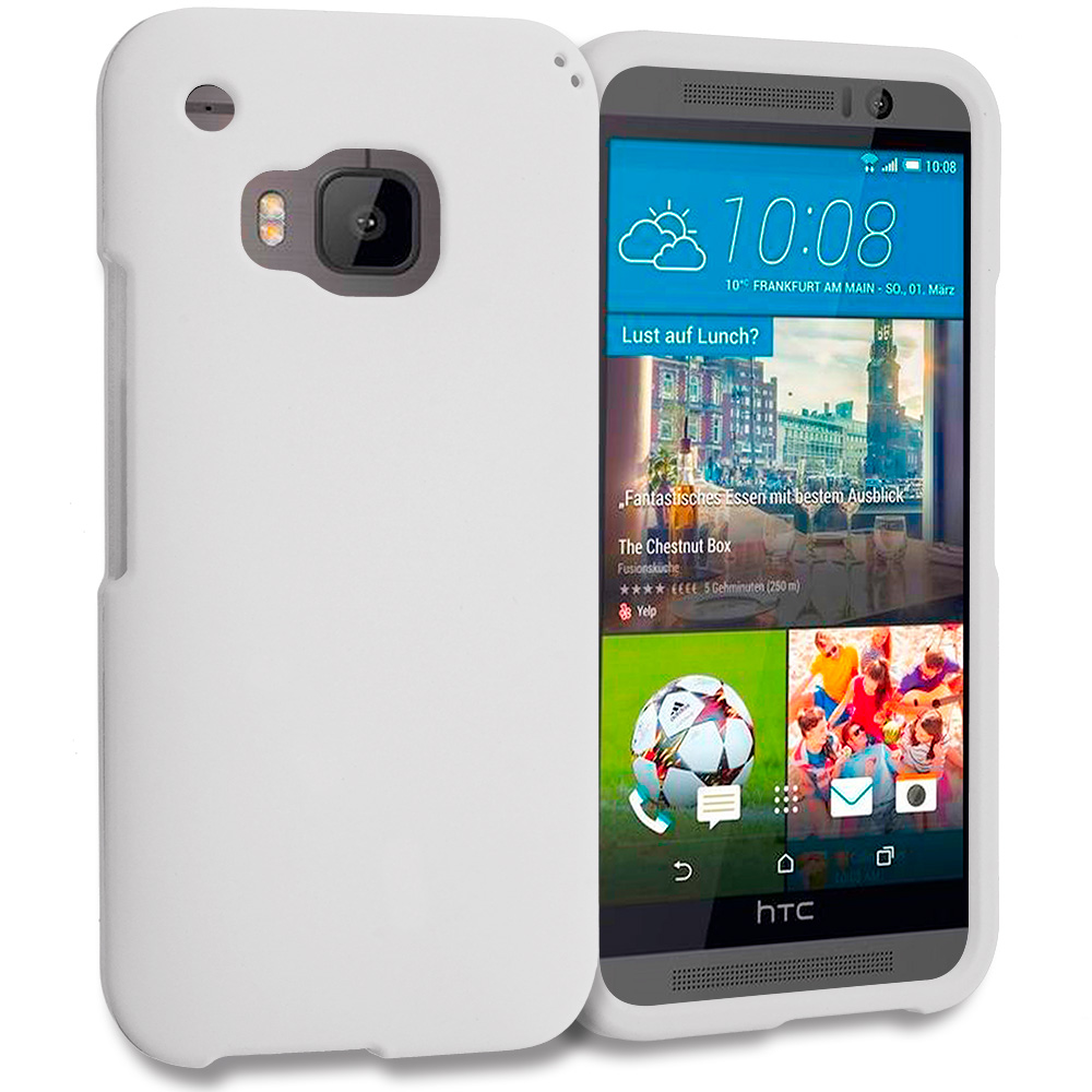 HTC One M9 White Hard Rubberized Case Cover