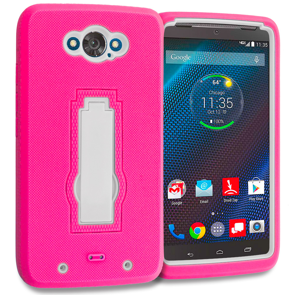 Motorola Droid Turbo Hot Pink / White Hybrid Heavy Duty Hard Soft Case Cover with Kickstand