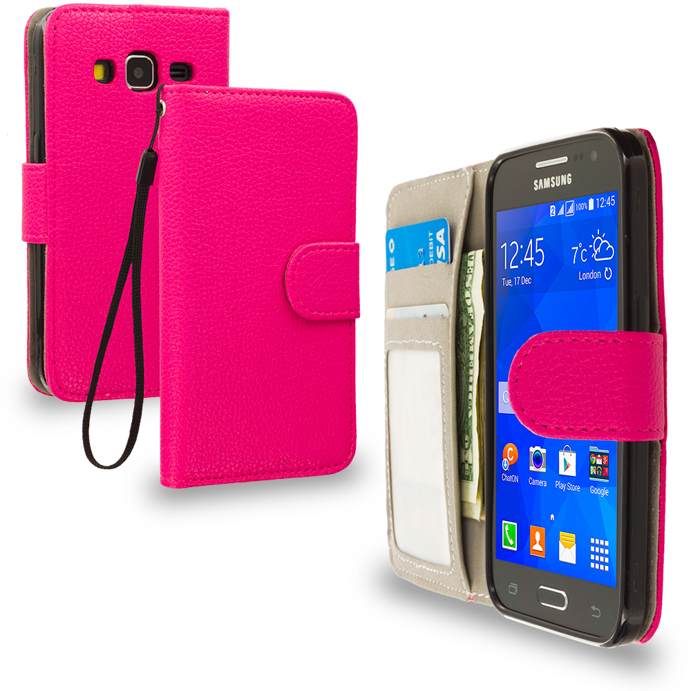 Samsung Galaxy Prevail LTE Core Prime G360P Hot Pink Leather Wallet Pouch Case Cover with Slots