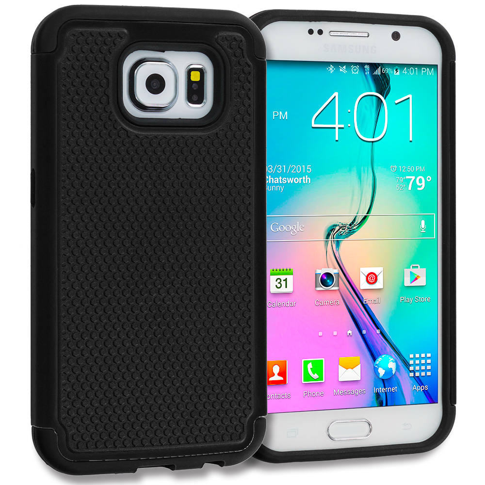 Samsung Galaxy S6 Black / Black Hybrid Rugged Grip Shockproof Case Cover
