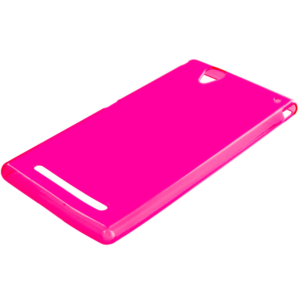 Sony Xperia T2 Ultra D5303 Hot Pink TPU Rubber Skin Case Cover