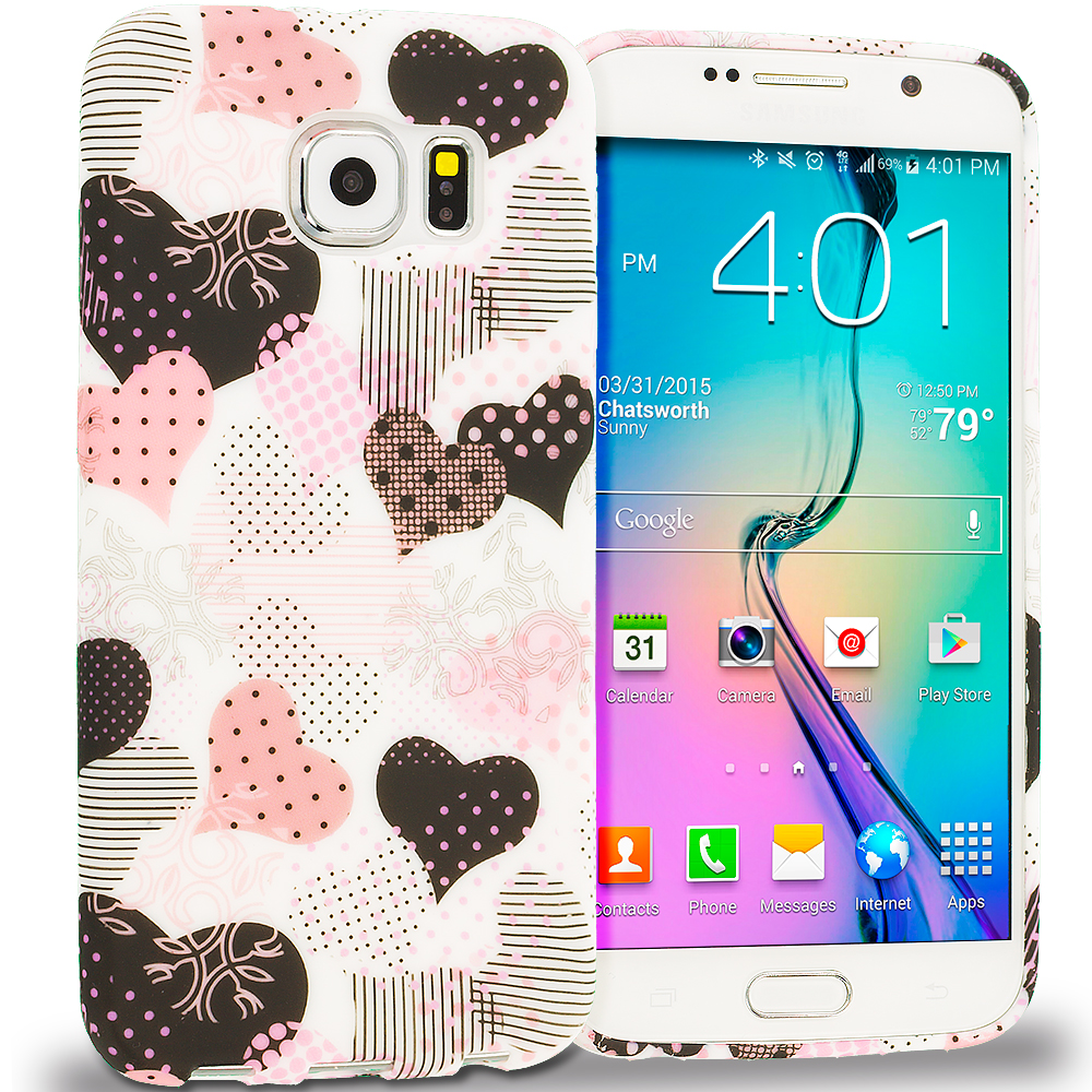 Samsung Galaxy S6 Combo Pack : Candy Hearts TPU Design Soft Rubber Case Cover : Color Love desert on Sliver