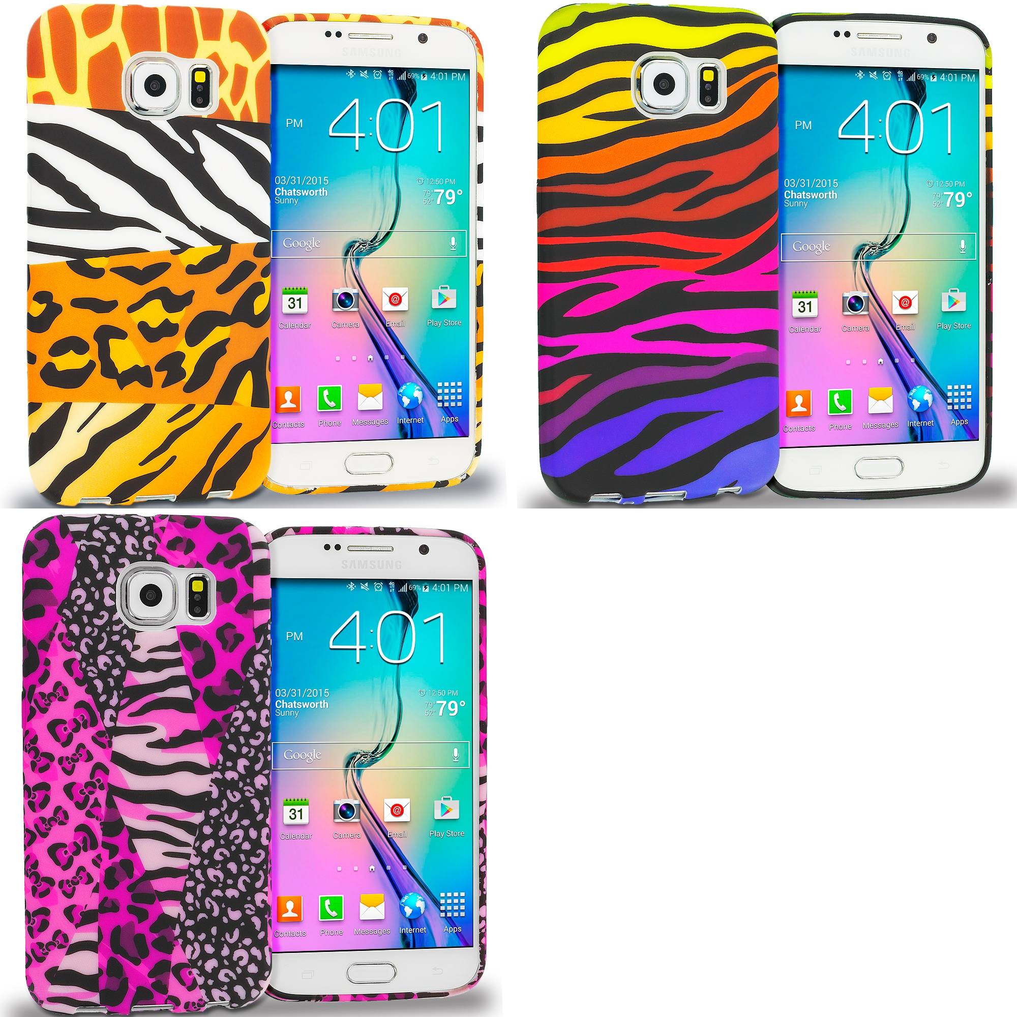 Samsung Galaxy S6 Combo Pack : Mix Animal Skin TPU Design Soft Rubber Case Cover