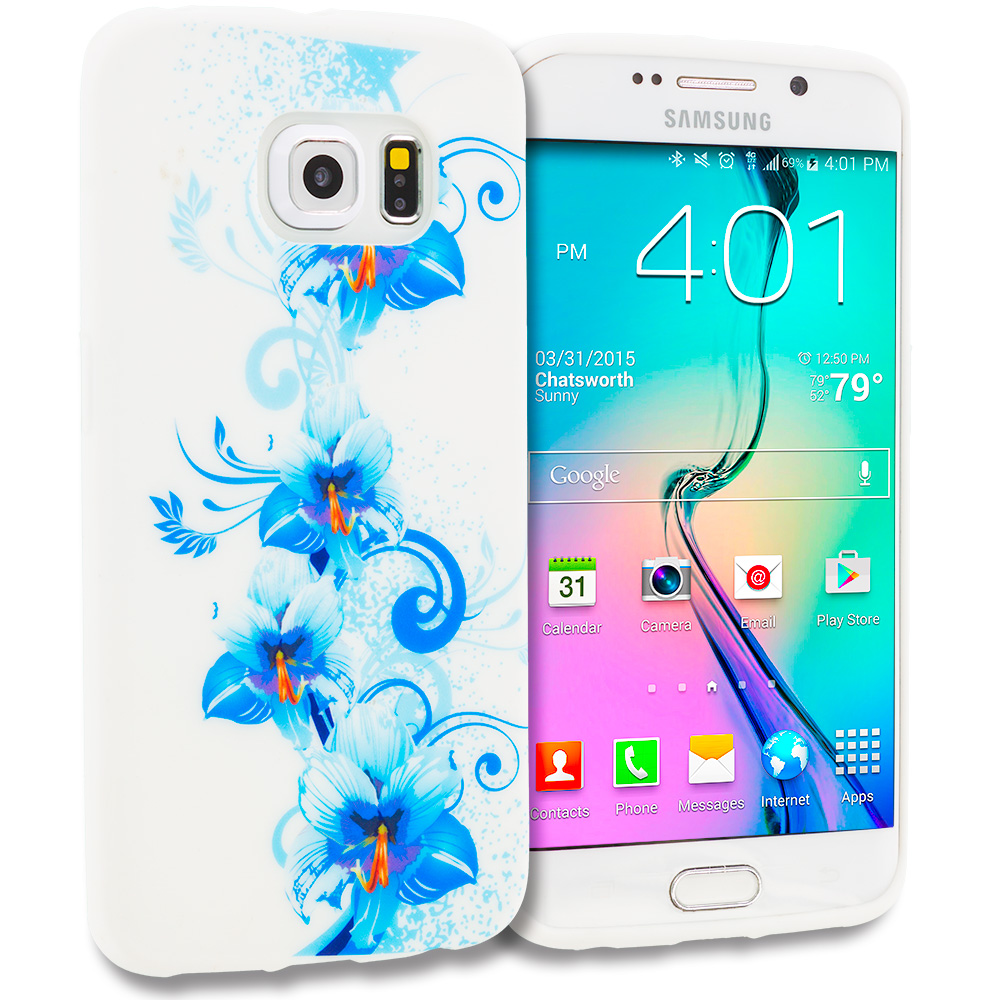 Samsung Galaxy S6 Edge Blue White Flower TPU Design Soft Rubber Case Cover