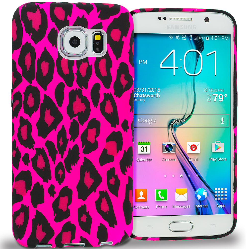 Samsung Galaxy S6 Edge Hot Pink Leopard TPU Design Soft Rubber Case Cover