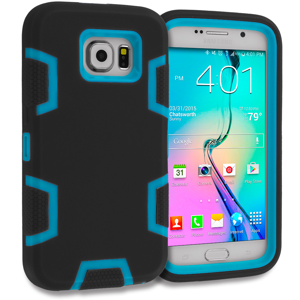 Samsung Galaxy S6 Combo Pack : Black / Purple Hybrid Defender Heavy Duty Shockproof Armor Hard Soft Case Cover : Color Black / Baby Blue