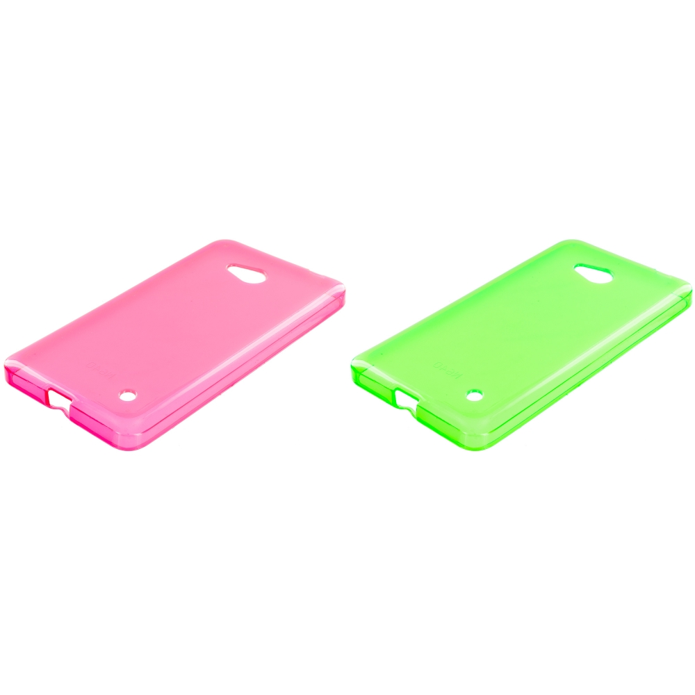 Microsoft Lumia 640 2 in 1 Combo Bundle Pack - Neon Green Pink TPU Rubber Skin Case Cover
