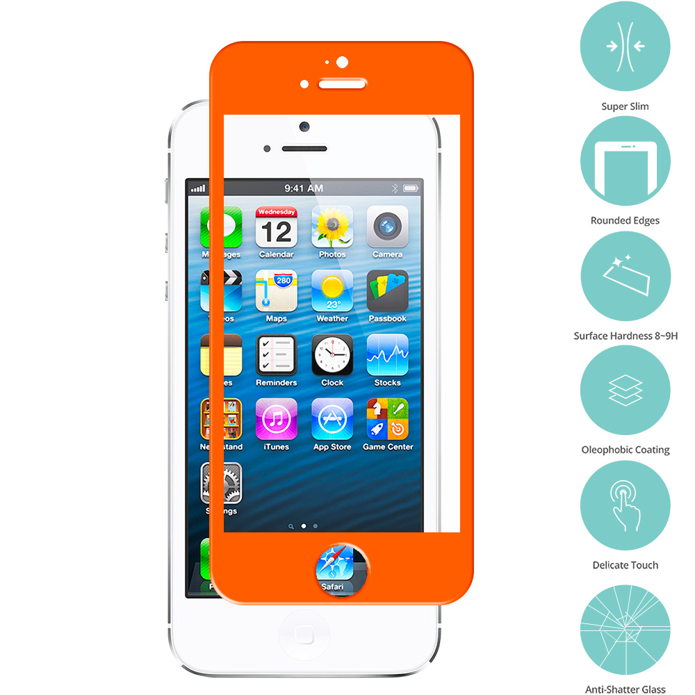 Apple iPhone 5 / 5S / 5C Orange Tempered Glass Film Screen Protector Colored