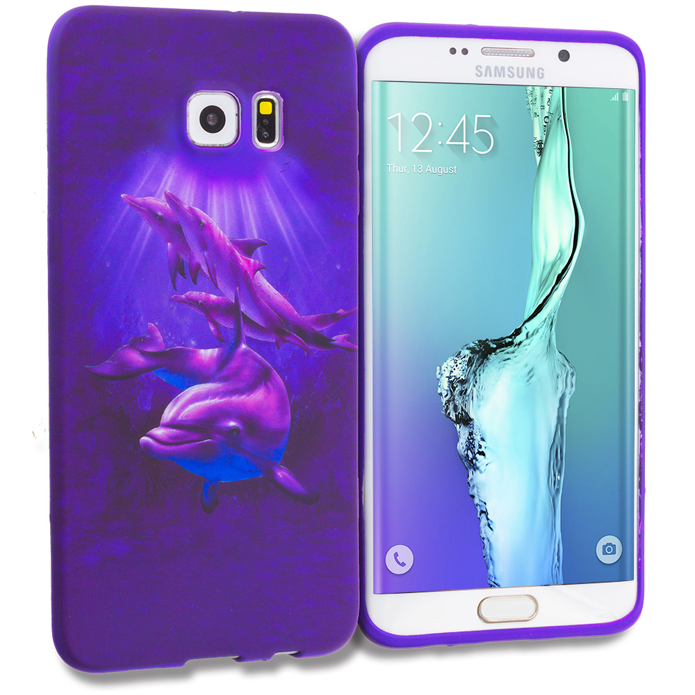 Samsung Galaxy S6 Edge Plus + Purple Dolphin TPU Design Soft Rubber Case Cover