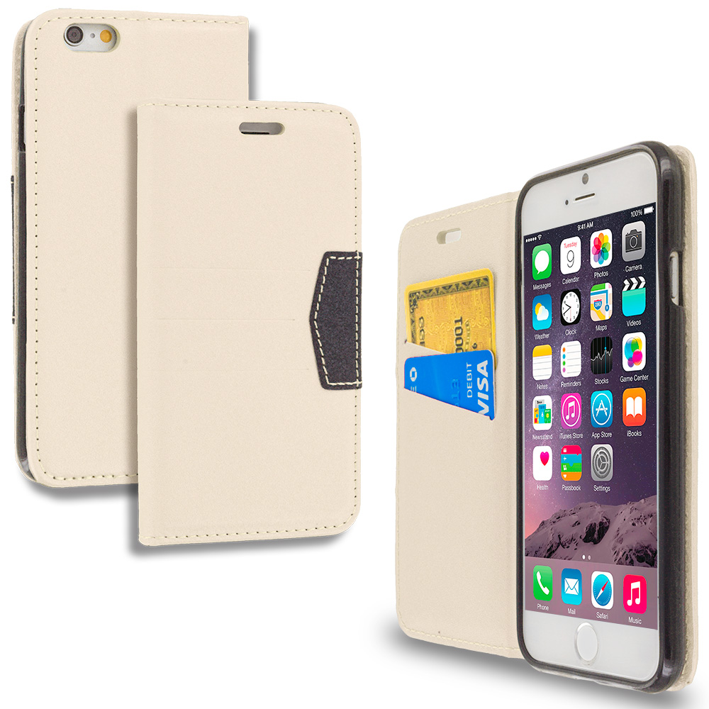 Apple iPhone 6 6S (4.7) White Wallet Flip Leather Pouch Case Cover with ID Card Slots