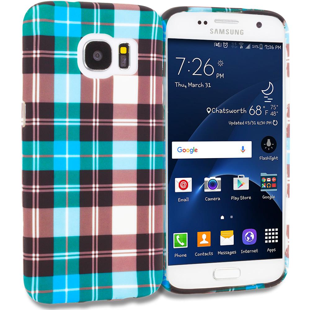 Samsung Galaxy S7 Edge Blue Checkered TPU Design Soft Rubber Case Cover