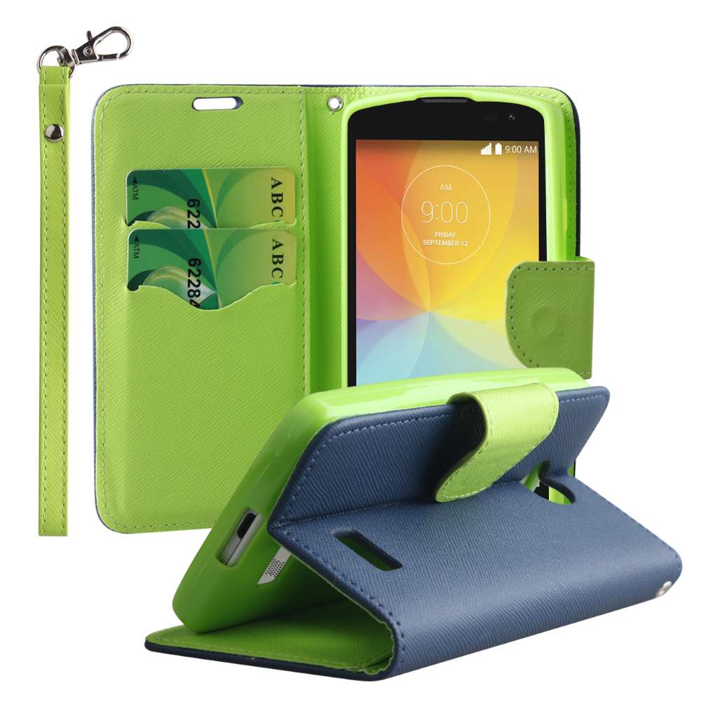 LG F60 - Blue / Neon Green MPERO FLEX FLIP 2 Wallet Stand Case Cover