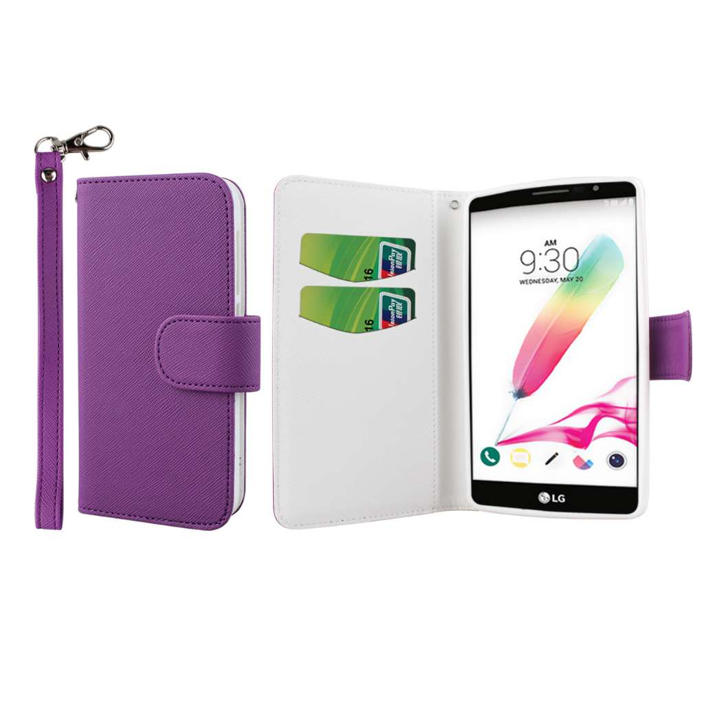 LG G Stylo - Purple MPERO FLEX FLIP Wallet Case Cover