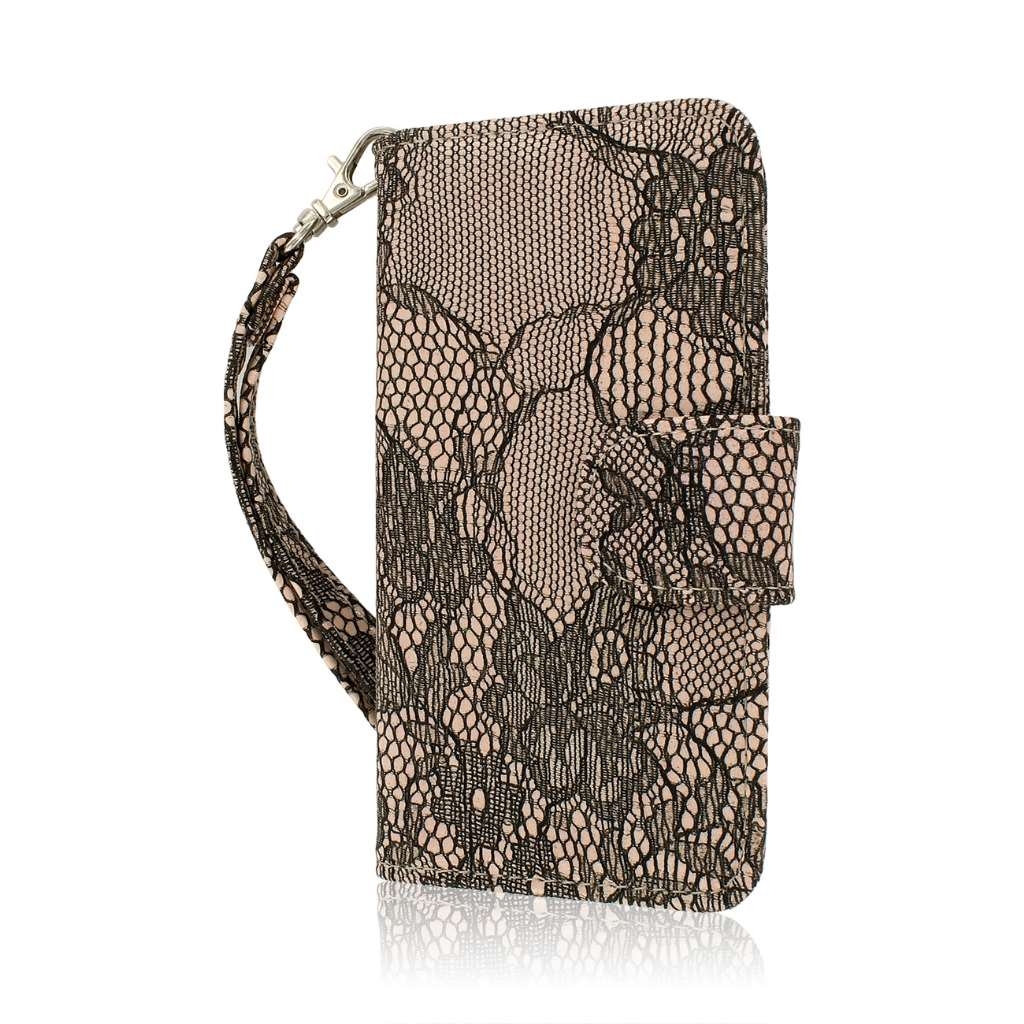 Apple iPhone 5C - Black Lace MPERO FLEX FLIP Wallet Case Cover