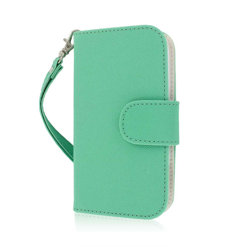 ZTE Warp Sequent N861 - Mint / White MPERO FLEX FLIP Wallet Case Cover
