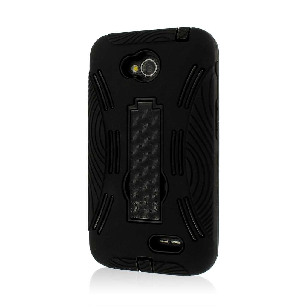 LG Optimus L70 - Black MPERO IMPACT X - Kickstand Case Cover