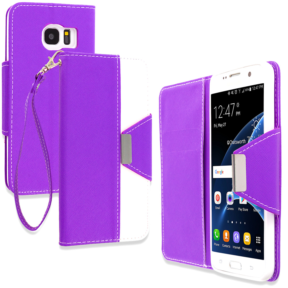 Samsung Galaxy S7 Edge Purple Wallet Magnetic Metal Flap Case Cover With Card Slots