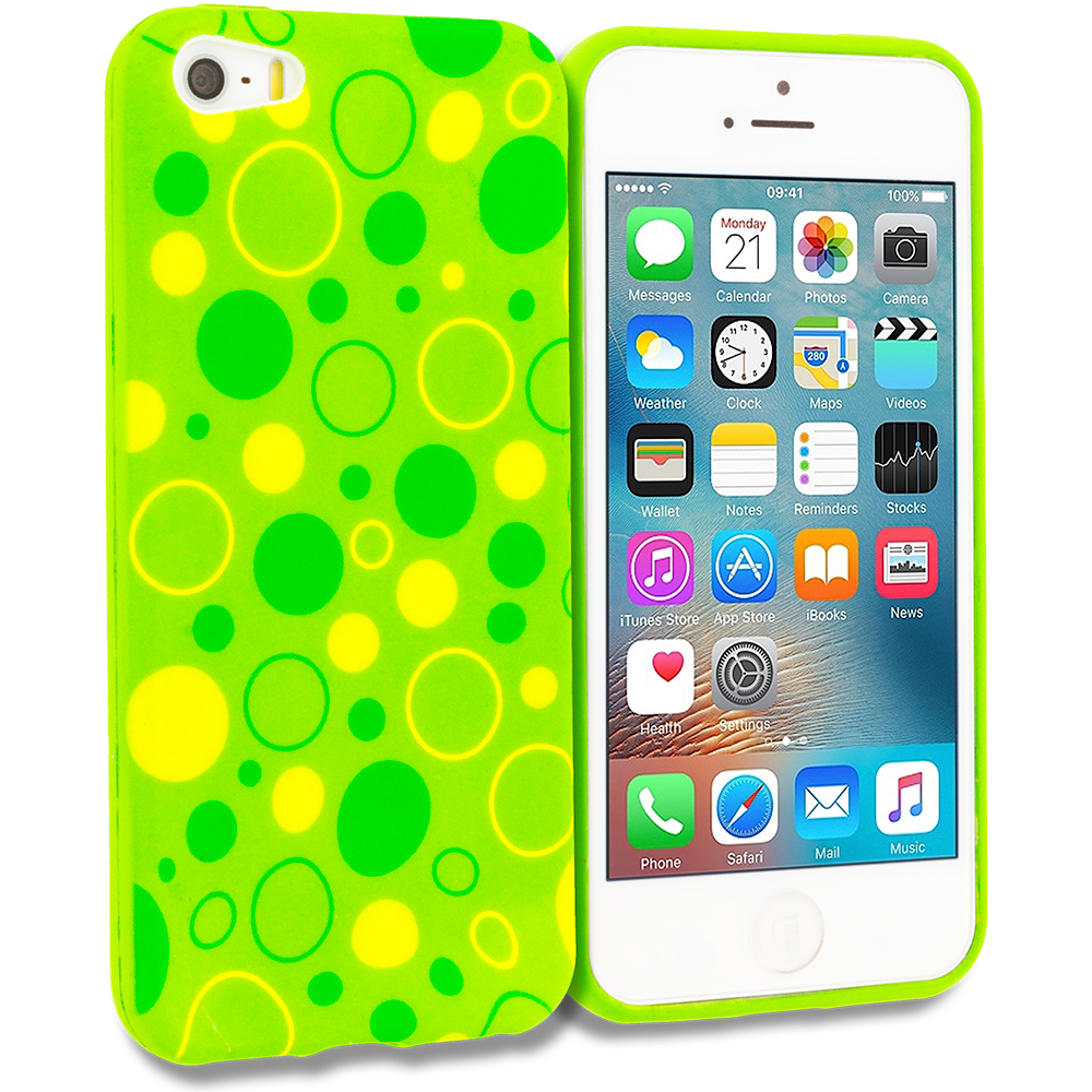 Apple iPhone 5/5S/SE Combo Pack : Green / White Swirl TPU Design Soft Rubber Case Cover : Color Green Bubbles