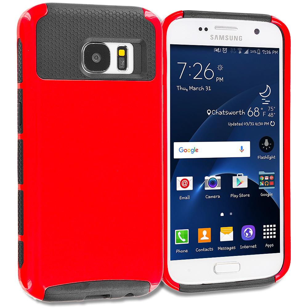 Samsung Galaxy S7 Red / Black Hybrid Hard TPU Honeycomb Rugged Case Cover