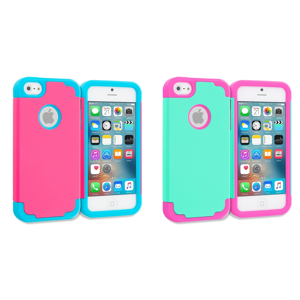 Apple iPhone 5 Combo Pack : Hot Pink / Baby Blue Hybrid Slim Hard Soft Rubber Impact Protector Case Cover