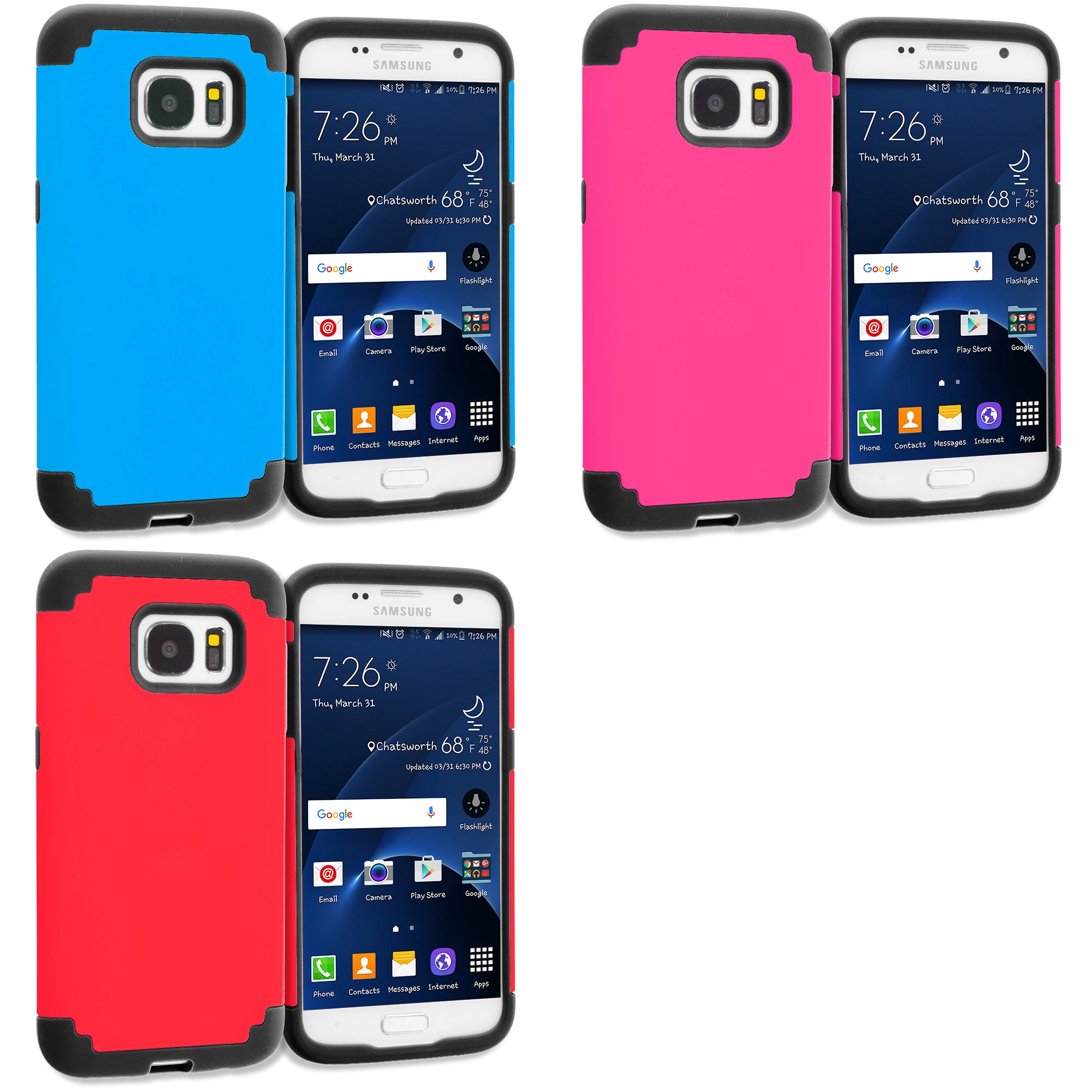 Samsung Galaxy S7 Combo Pack : Blue / Black Hybrid Slim Hard Soft Rubber Impact Protector Case Cover