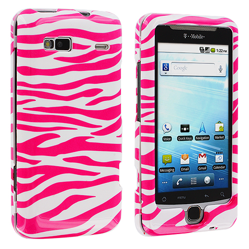 HTC G2 Vanguard Pink / White Zebra Design Crystal Hard Case Cover