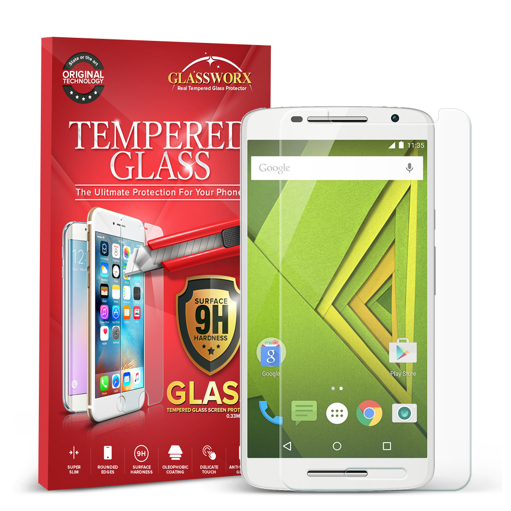 Motorola Moto X Play GlassWorX HD Clear Tempered Glass Screen Protector