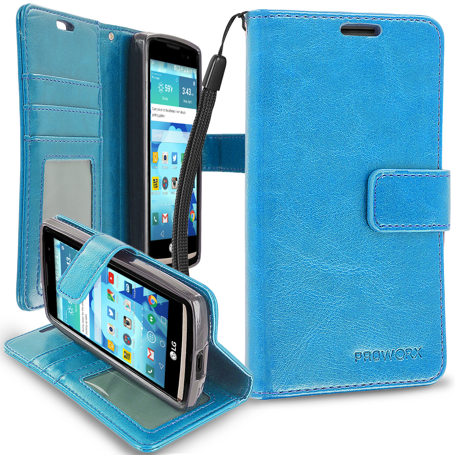 LG Tribute 2 Leon Power Destiny Baby Blue ProWorx Wallet Case Luxury PU Leather Case Cover With Card Slots & Stand