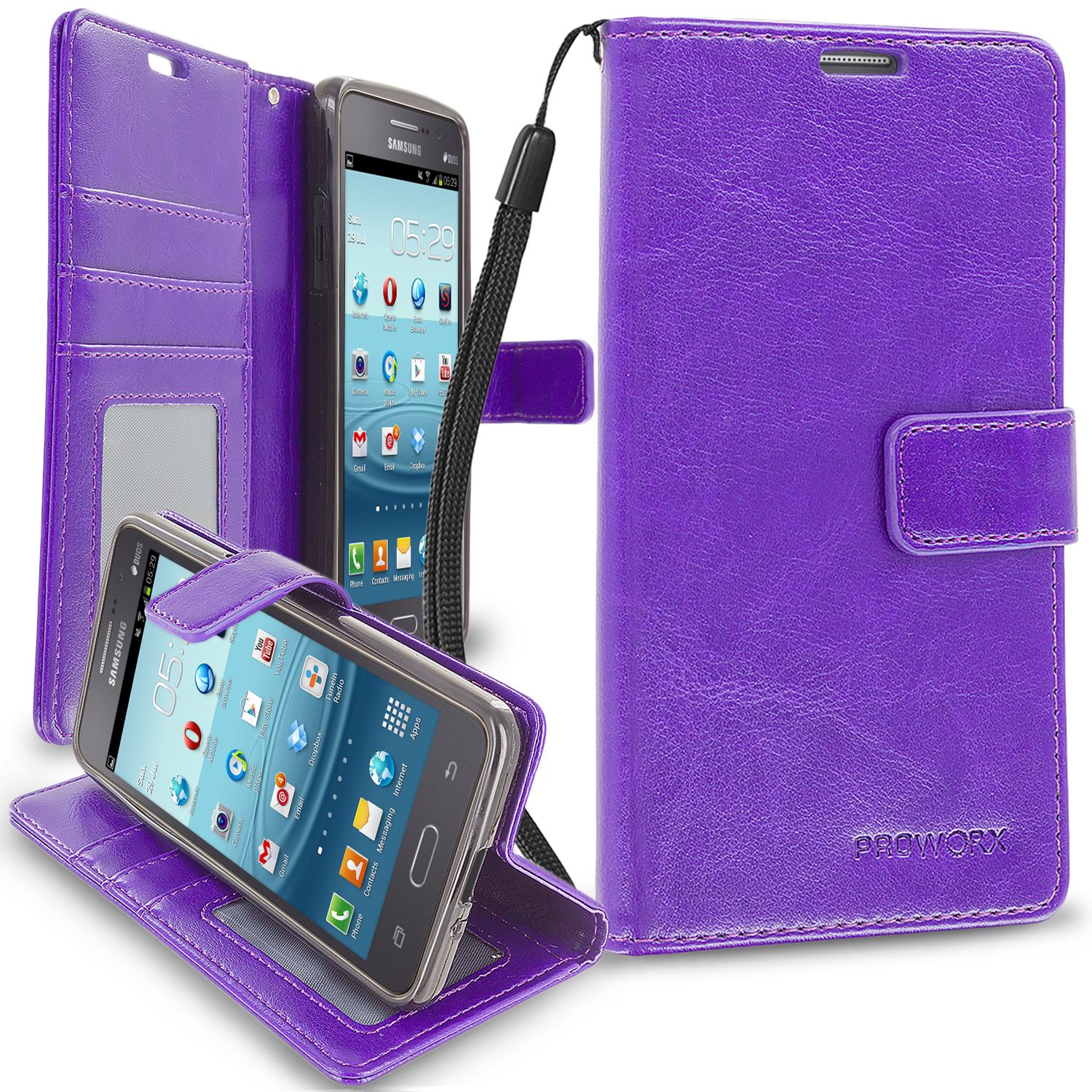 Samsung Galaxy Grand Prime LTE G530 Purple ProWorx Wallet Case Luxury PU Leather Case Cover With Card Slots & Stand