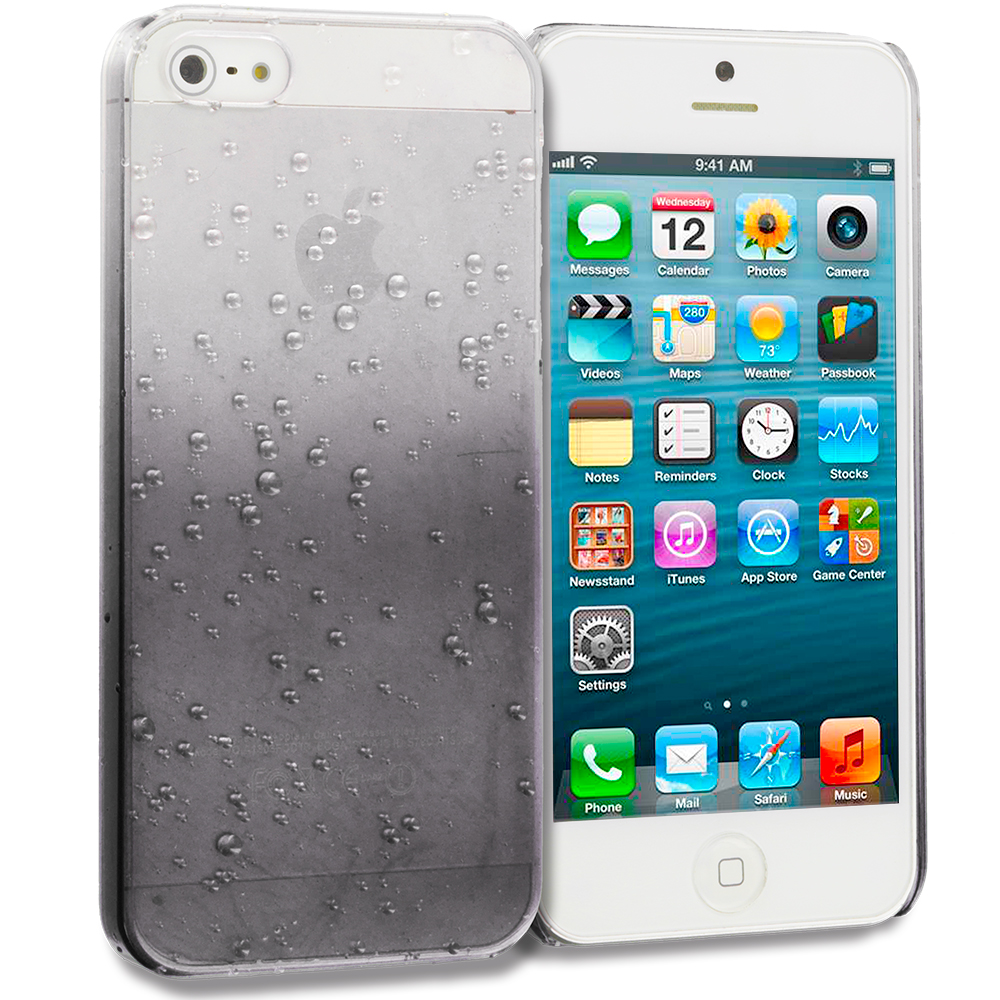 Apple iPhone 5/5S/SE Black Crystal Raindrop Hard Case Cover