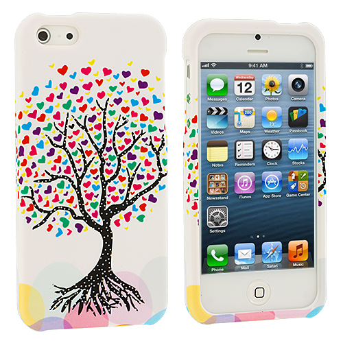 Apple iPhone 5 3 in 1 Combo Bundle Pack - Heart Love Tree Hard Rubberized Design Case Cover : Color Wishing Tree White
