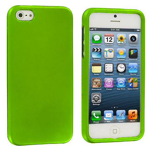 Apple iPhone 5/5S/SE Combo Pack : Neon Green Hard Rubberized Case Cover : Color Neon Green