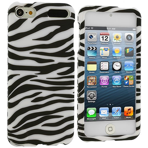 Apple iPod Touch 5th 6th Generation Black / White Zebra Hard Rubberized Design Case Cover