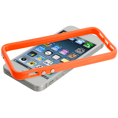 Apple iPhone 5/5S/SE Solid Orange TPU Bumper with Metal Buttons