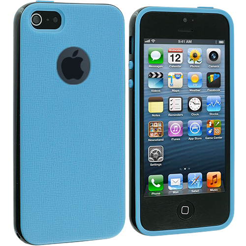 Apple iPhone 5/5S/SE Baby Blue / Black Hybrid TPU Bumper Case Cover