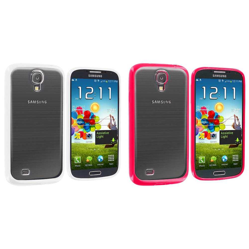 Samsung Galaxy S4 2 in 1 Combo Bundle Pack - Pink White TPU Plastic Hybrid Case Cover