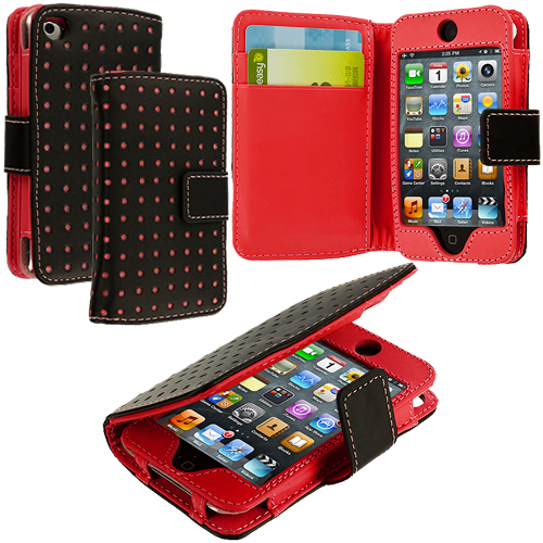 Apple iPod Touch 4th Generation Red Dots Leather Wallet Pouch Case Cover with Slots