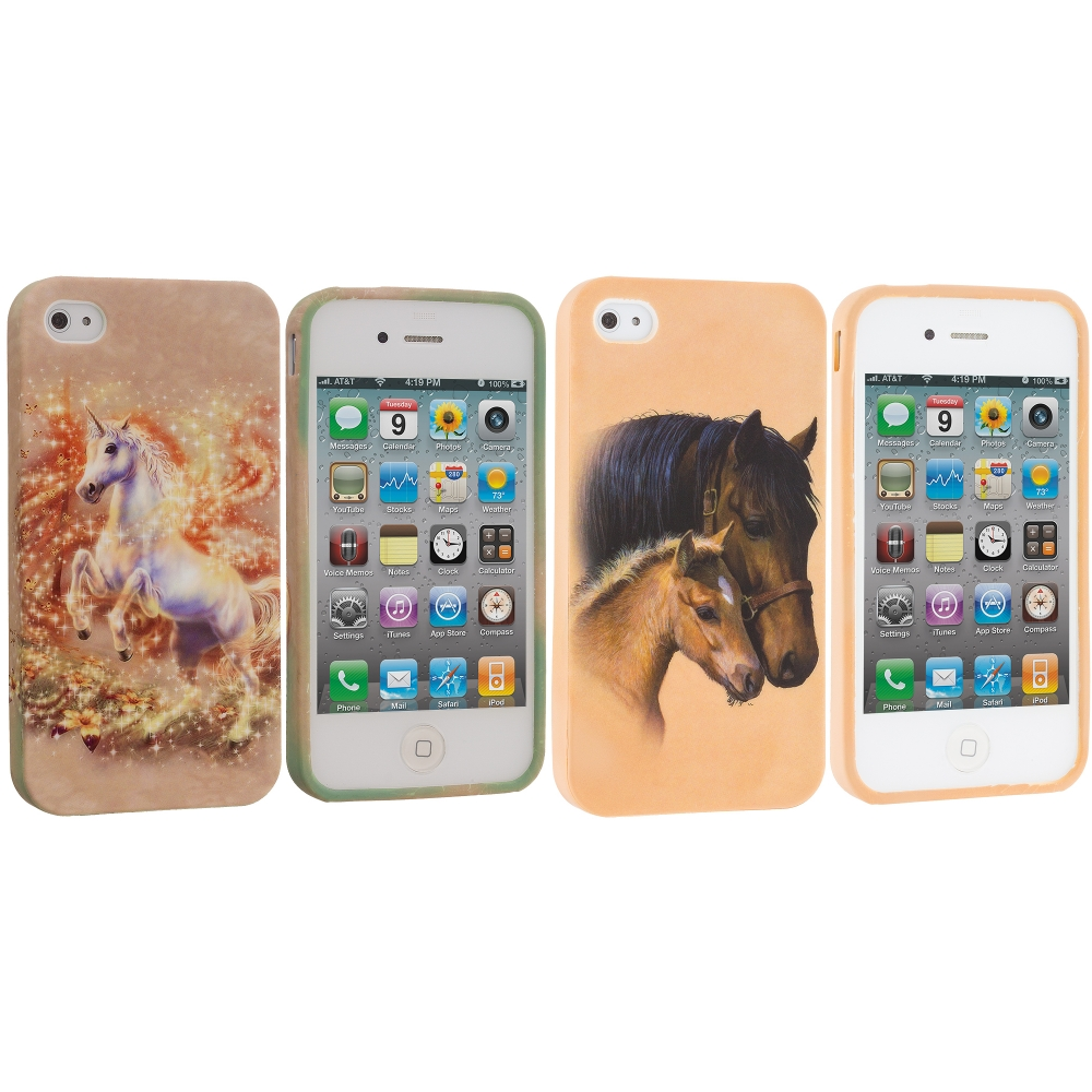 Apple iPhone 4 / 4S 2 in 1 Combo Bundle Pack - Horse Unicorn TPU Design Soft Case Cover