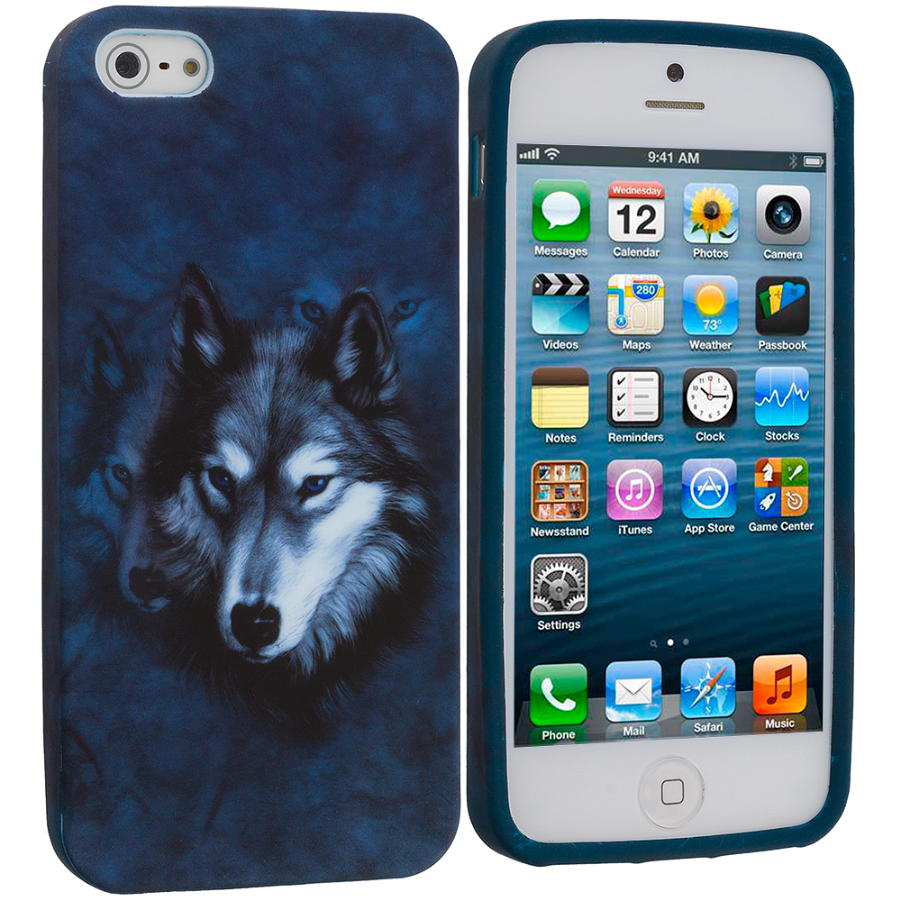Apple iPhone 5/5S/SE Combo Pack : Dolphin TPU Design Soft Case Cover : Color Wolf