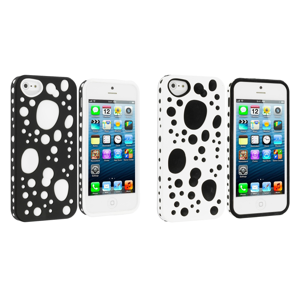 Apple iPhone 5/5S/SE Combo Pack : Black / White Hybrid Bubble Hard/Soft Skin Case Cover