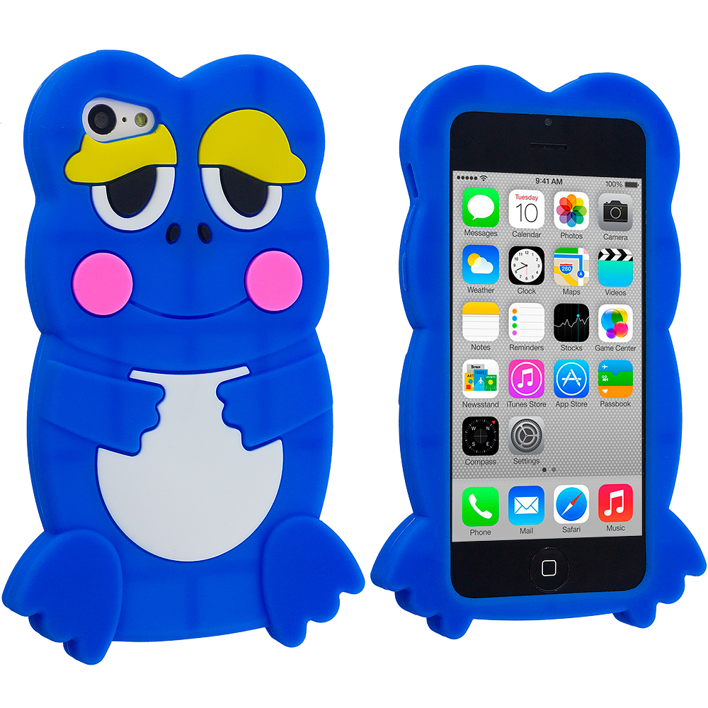 Apple iPhone 5C Blue Frog Silicone Design Soft Skin Case Cover