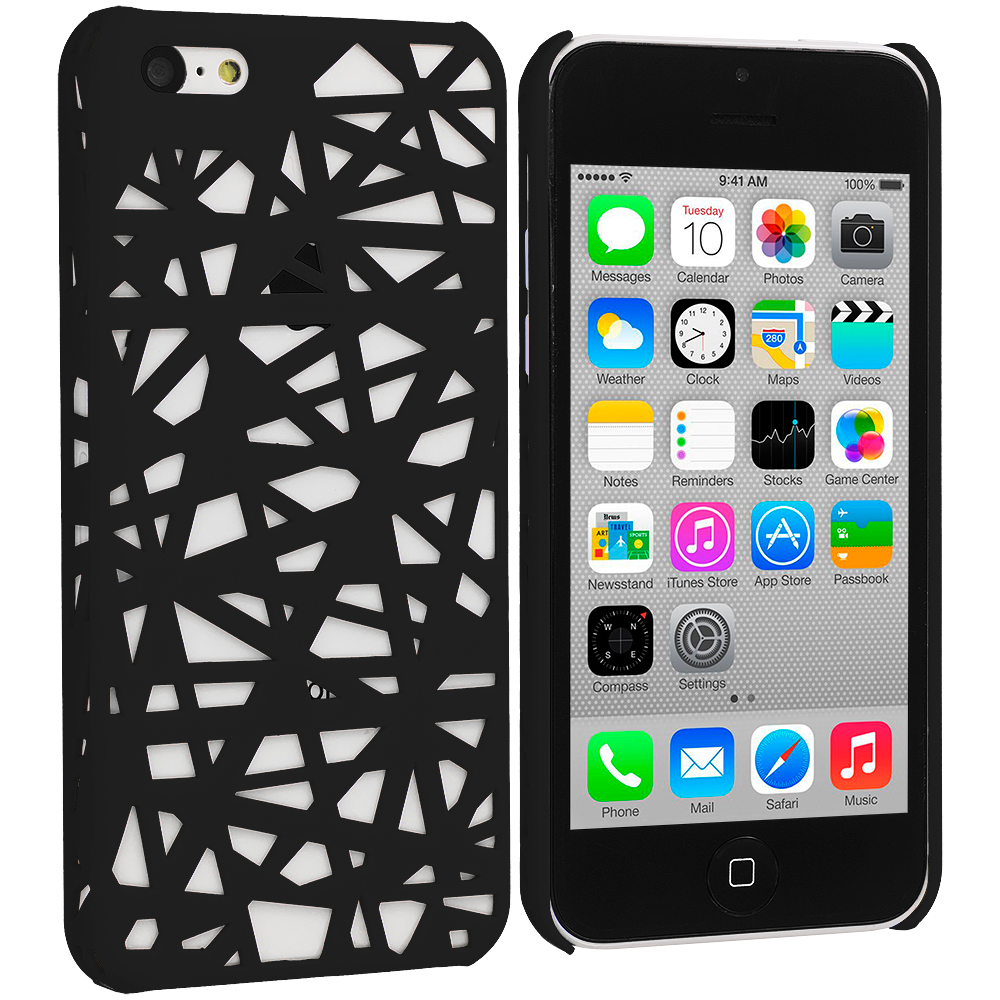 Apple iPhone 5C 2 in 1 Combo Bundle Pack - Yellow Black Birds Nest Hard Rubberized Back Cover Case : Color Black Birds Nest