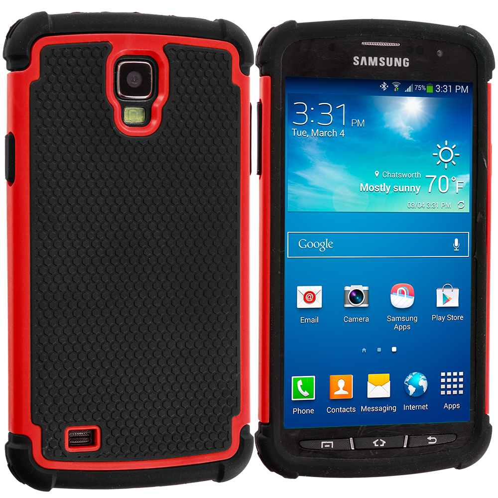 Samsung Galaxy S4 Active i537 Black / Red Hybrid Rugged Hard/Soft Case Cover
