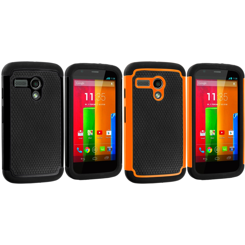 Motorola Moto G 2 in 1 Combo Bundle Pack - Black / Orange Hybrid Rugged Hard/Soft Case Cover