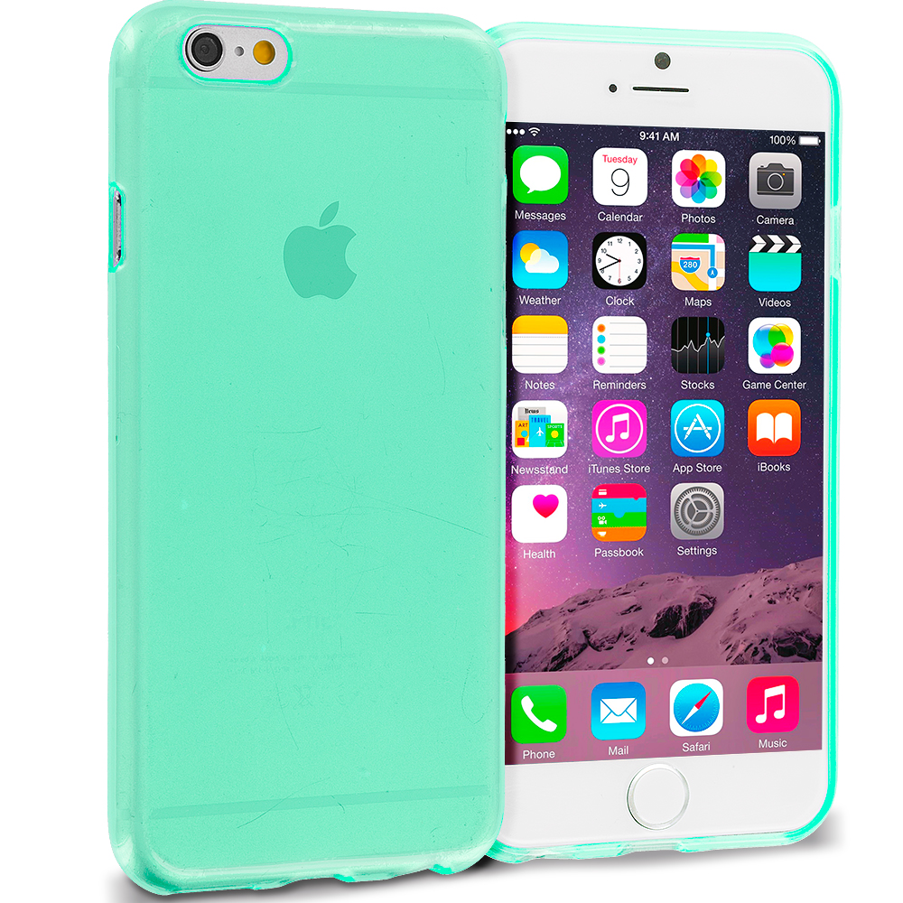 Apple iPhone 6 Plus 6S Plus (5.5) Mint Green Transparent TPU Rubber Skin Case Cover